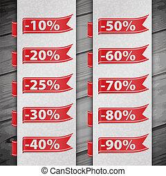 scontare, set, percento, illustrazione