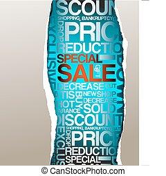 scontare, vendita, annuncio pubblicitario
