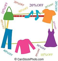sconti, cornice, accessori per abbigliamento, colorito