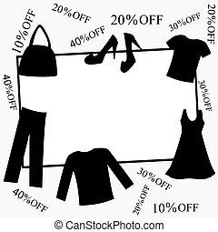 sconti, cornice, accessori per abbigliamento
