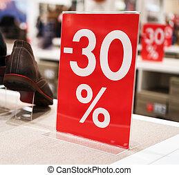 sconti, in, il, shopping, center., trenta, percento, discount.