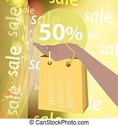 sconti, percento, vendita, cinquanta
