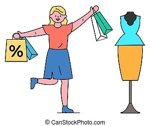 sconti, vendite, donna, boutique, shopping