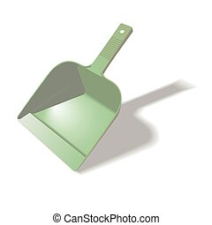 Green scoop for cleaning isolated on white