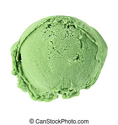 Scoop ice cream - Scoop of ice cream on white background,...