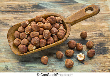 hazelnuts on a rustic wooden scoop against a wood grunge background