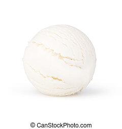 Scoop of vanilla ice cream on white background
