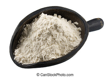 white wheat flour on a rustic, wooden scoop, isolated