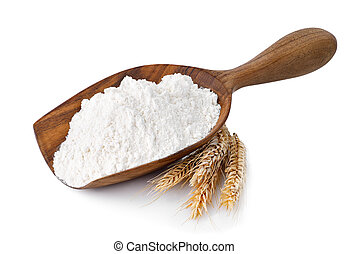 scoop with flour isolated on white