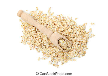 Scoop with oatmeal flakes isolated on white background