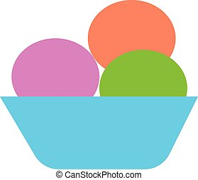 Scooped ice cream vector or color illustration