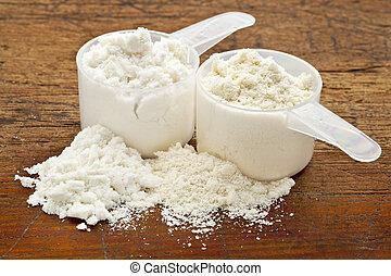 scoops, -, twee, poeder, proteïne, whey