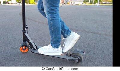 scooter, électrique, équitation, femme