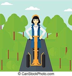 scooter., γυναίκα , ηλεκτρικός , ιππασία