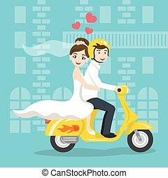 scooter., スタイル, 輸送, 新婚者, 花嫁, 型, 花婿, 若い, イラスト, honeymoon., 見る...