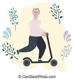 scooter., 古い, 乗馬, 幸せ, 蹴り, 人