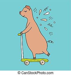 scooter., abbildung, schwein, hand-drawn, vektor, reiten, doodles.
