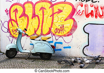 Scooter and graffiti