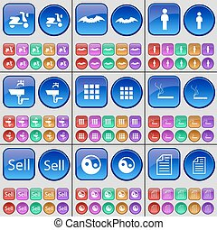 Scooter, Bat, Silhouette, Tap, Apps, Cigarette, Sell, Yin-Yang, Text file. A large set of multi-colored buttons. Vector