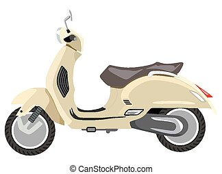 Scooter - Beige retro scooter on a white background