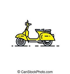 scooter, classique, ligne, icône