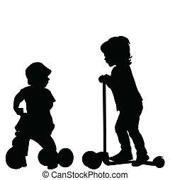 scooter, crianças, triciclo