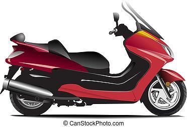 scooter., croquis, ville, illustration, vecteur, motorcycle.