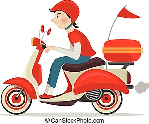 Delivery person on retro scooter fast service icon isolated on white background vector illustration