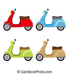 scooter, dettaglio, illustrazione