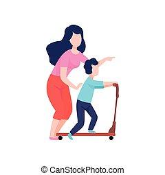 scooter, elle, cavalcade, mère, illustration, fils, bon, vecteur, maman, temps, enseignement, avoir, coup de pied, gosse