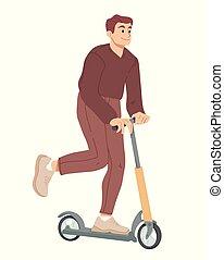 scooter., estate, cavalcata, ozio, vector., attività, uomo