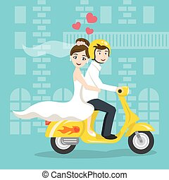 scooter., estilo, transporte, recién casados, novia, ...