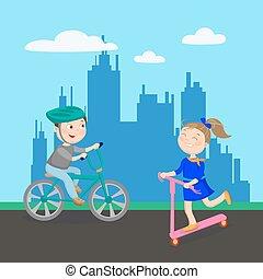 scooter., geitjes, city., jongen, illustratie, bicycle., vector, paardrijden, meisje, spelend, vrolijke