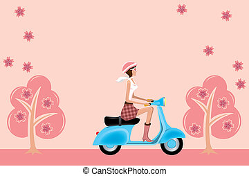 Scooter girl on cherry blossoms - Illustration vector