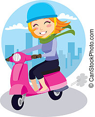 Scooter Girl - Pretty girl riding a pink scooter with blue...