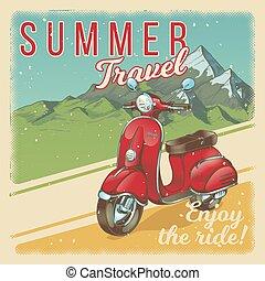 scooter, grunge, illustrazione, manifesto, vettore, ciclomotore, vendemmia, style., rosso