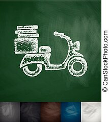 scooter icon. Hand drawn vector illustration. Chalkboard...
