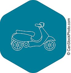 Scooter icon, outline style - Scooter icon. Outline...