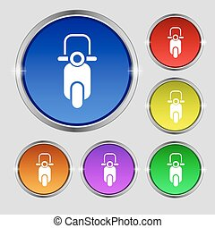 Scooter icon sign. Round symbol on bright colourful buttons. Vector