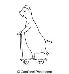 scooter., illustration, cochon, hand-drawn, vecteur, monochrome, équitation