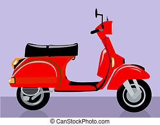 Scooter	 - Illustration of a red scooter
