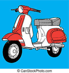 Scooter  illustration retro vintage pop motocycle moto