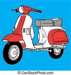 Scooter illustration retro vintage pop motocycle moto