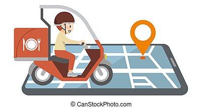 scooter, image, nourriture, porter, deliveryman, carte