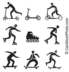 Scooter in line skateboard icons - Set of nine black...