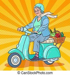 scooter., kobieta, sztuka, biker., hukiem, wektor, ilustracja, jeżdżenie, senior, dama