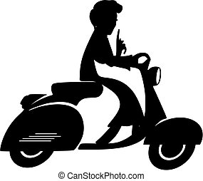 Scooter lady silhouette - Retro Scooter lady driving her...