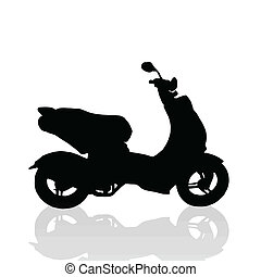 Little engine scooter on white background with reflection, vector illustration
