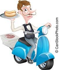 scooter, livrer, vélomoteur, maître d'hôtel, dessin animé, hot-dog