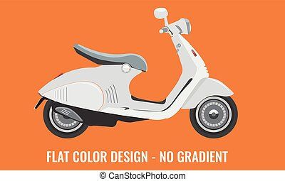 Scooter motorbike with flat color style design. - Scooter...